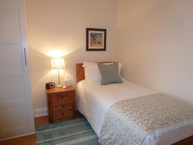 Second Bedroom showing single bed.  A smaller oak trundle bed (4ft) long available for small child
