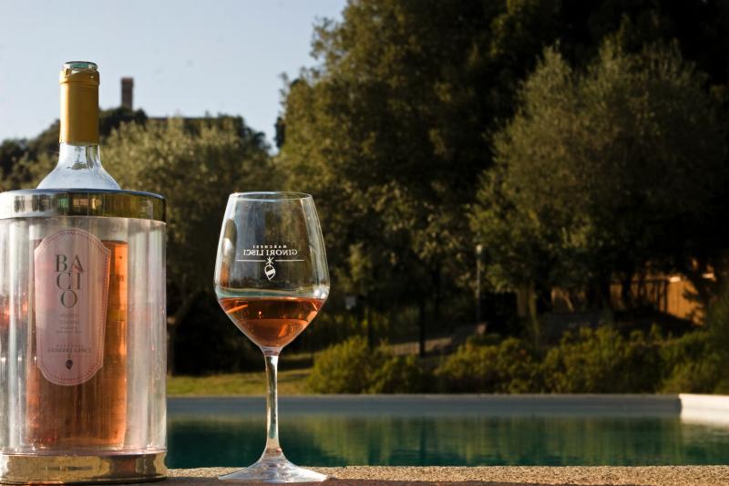 Piscina e vinho no Castello Ginori em Querceto