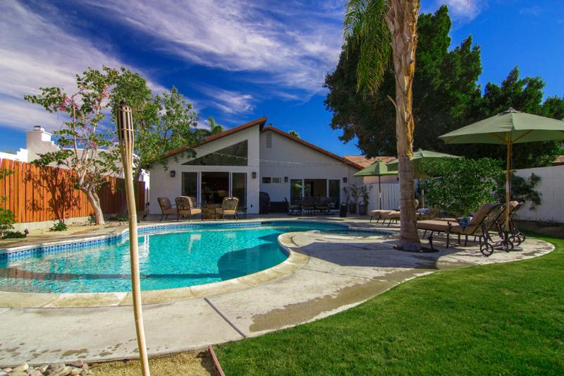 Amenities- Fire pit, stainless BBQ, dining table and ample poolside seating