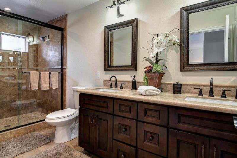 Master Bath- Walk-In shower for 2 with bench.  High quality towels and toiletries