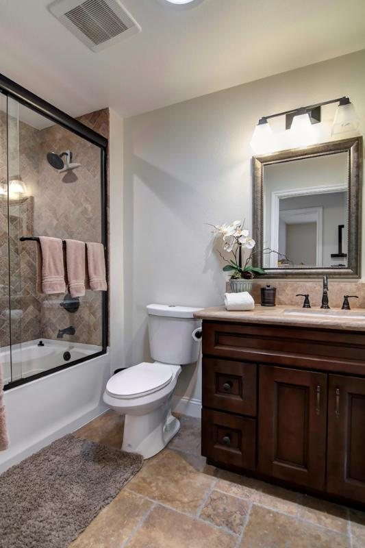 Bathroom 2- Beautiful shower/ tub combo. Ample towels and toiletries