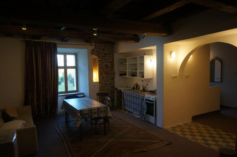 this flat is just off the central courtyard. Two bedrooms and a kitchen