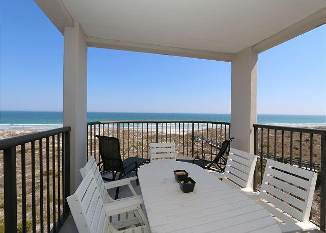 Oceanfront covered balcony