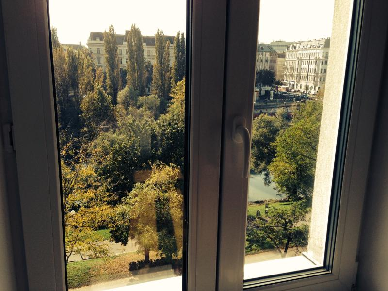 View through the window to the danube canal