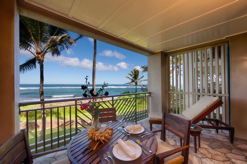 Lanai and view from one of our second floor villas!
