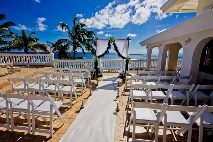 Eastern deck set for a wedding ceremony