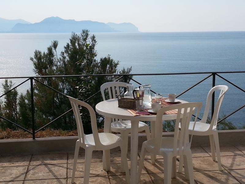 Terrace with sea view over the beautiful Gulf of Palermo