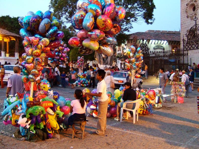 World Famous Silver Mining Town of Taxco with Balloon Seller