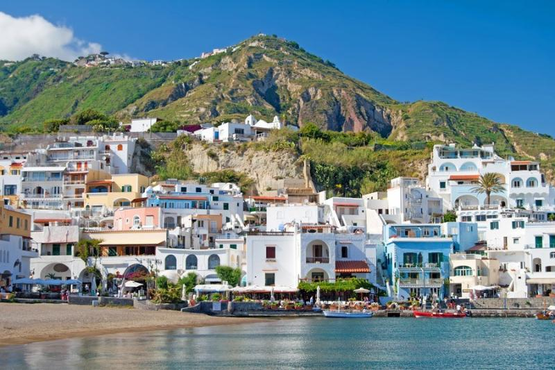 The lovely fisching village on Ischia Island. pedstrian area.