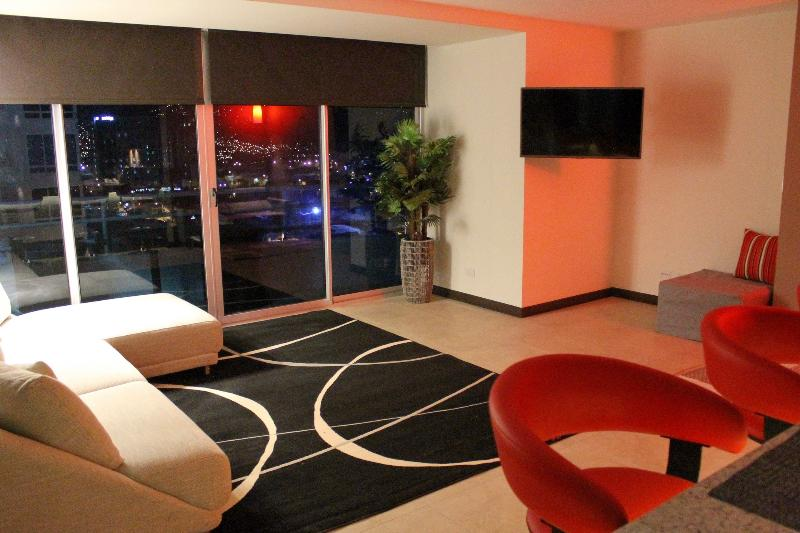 Oasis living area is chiq & modern. The city views towards Escazu are splendid.