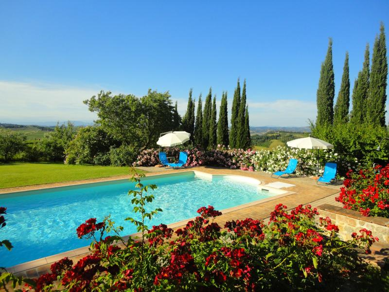 Lovely countryside Podere San Luigi Apt Tramonto, holiday rental in San Gimignano