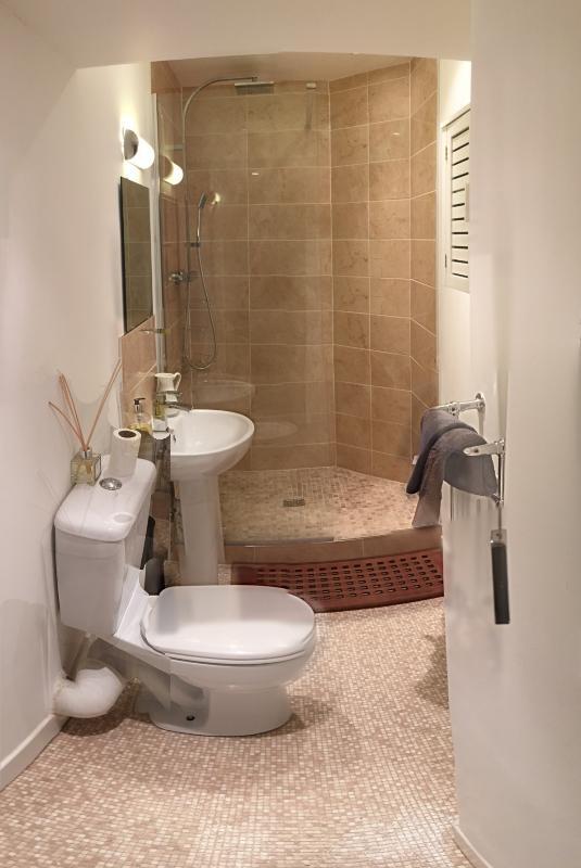 Douche walk-in douche met overhead en handdouche hoofden en solide teak slipmat tonen!