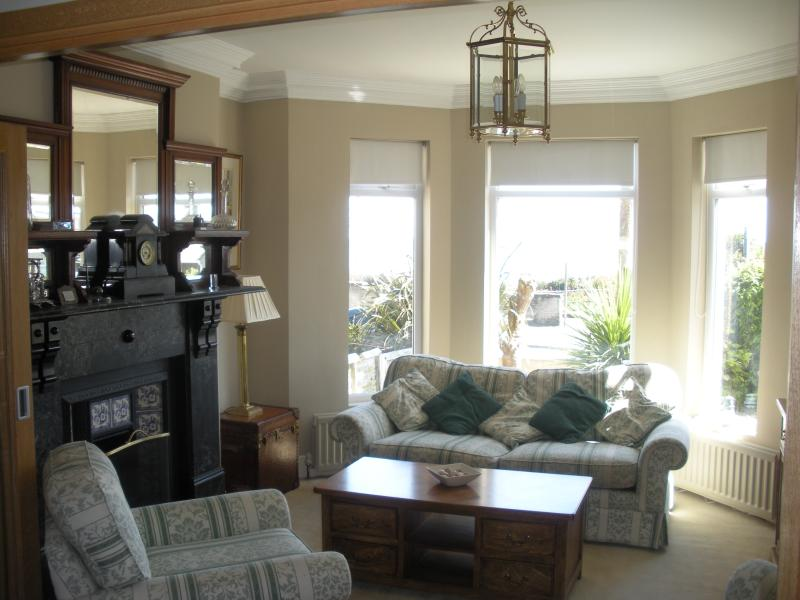 Reception Room 1 with stunning view of the sea and Scottish coast. Tv ,DVD player and DVD collection
