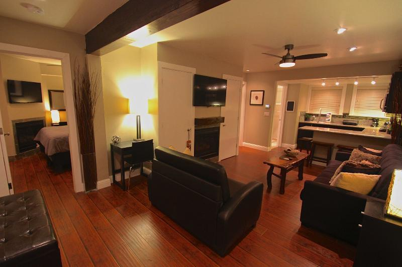 108 or 208 Living room - kitchen area. Fireplace.