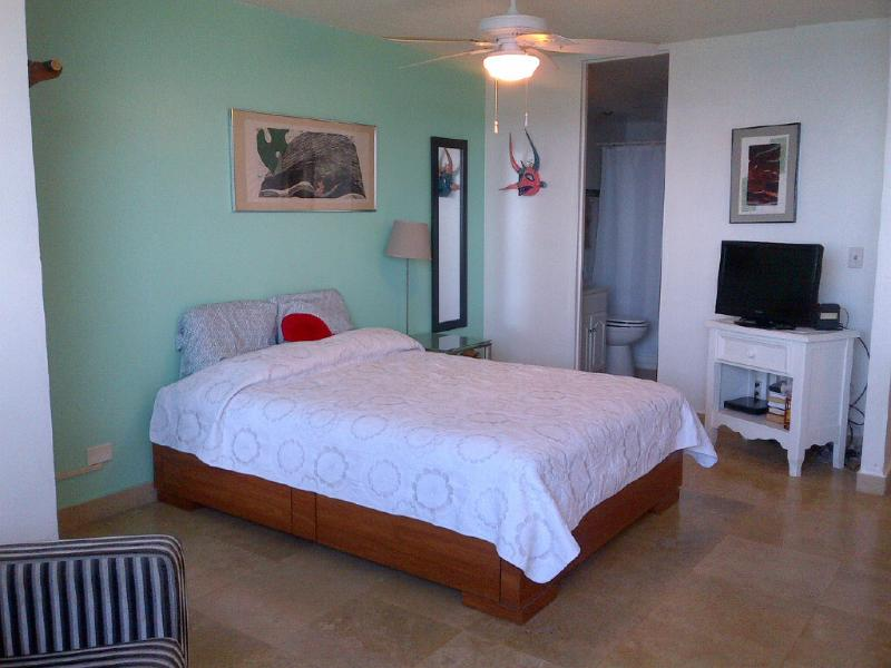 Queen size bed, cable tv and high speed internet access