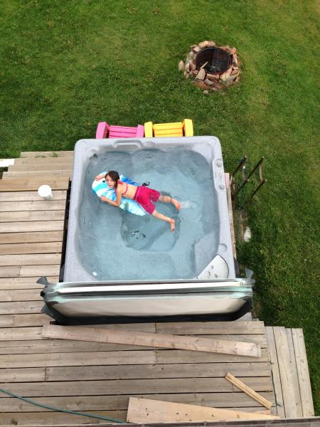Hot tub fun for the entire family.