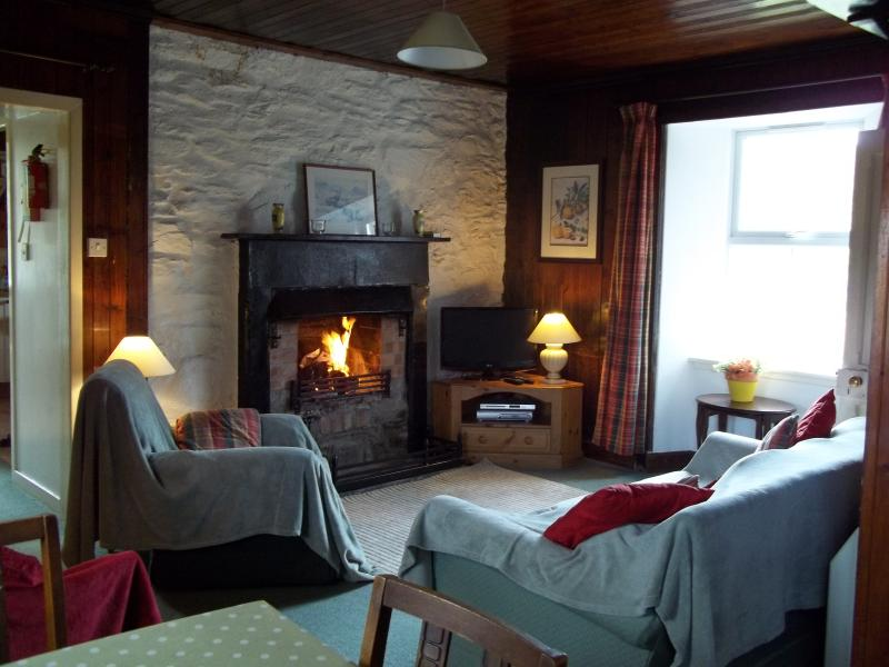 Snug sitting room with TV, DVD, docking station and large open fire.