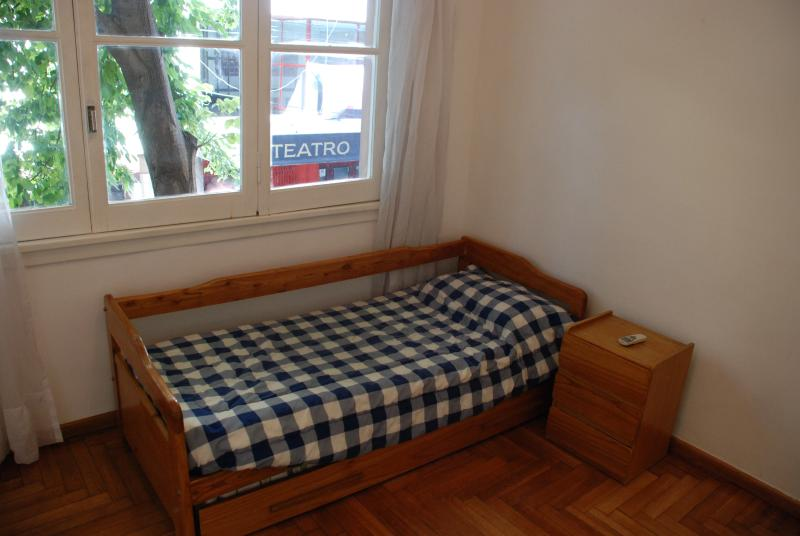 Bedroom 2, large window, shade and wood blinds