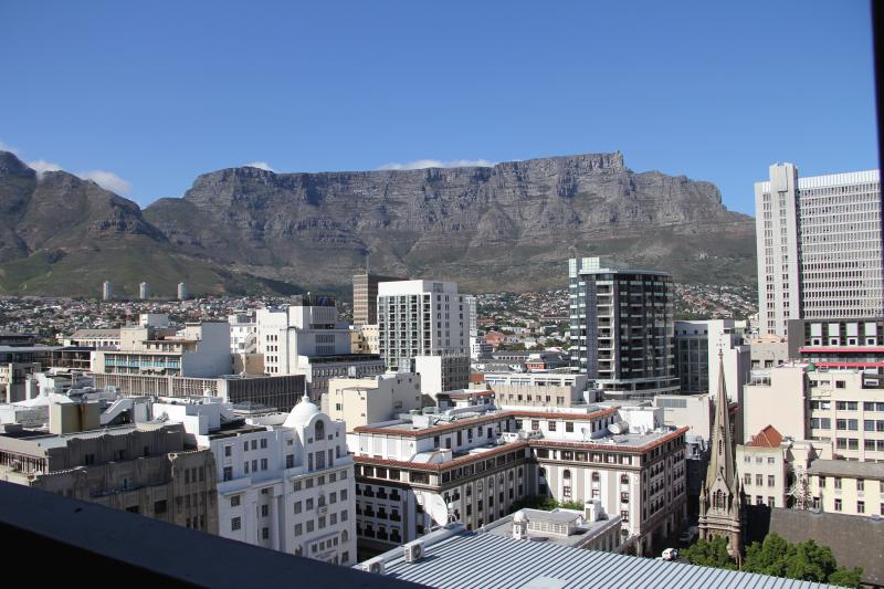 Stunning view of Table Mountain from the balcony of the apartment