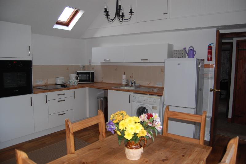 Modern kitchen with eye-level oven, fridge-freezer and washing machine