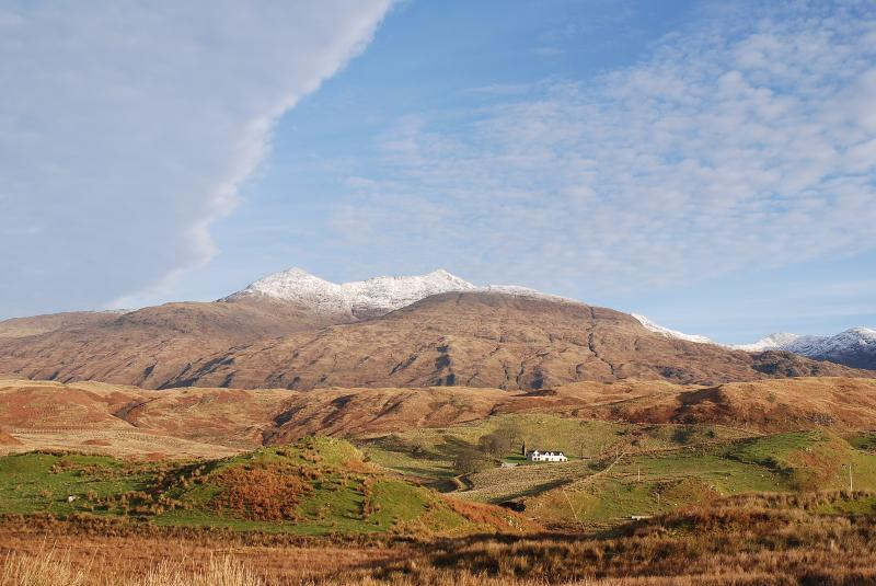 Snow topped Ben Cruachan as backdrop for Ballimore Farm Estate