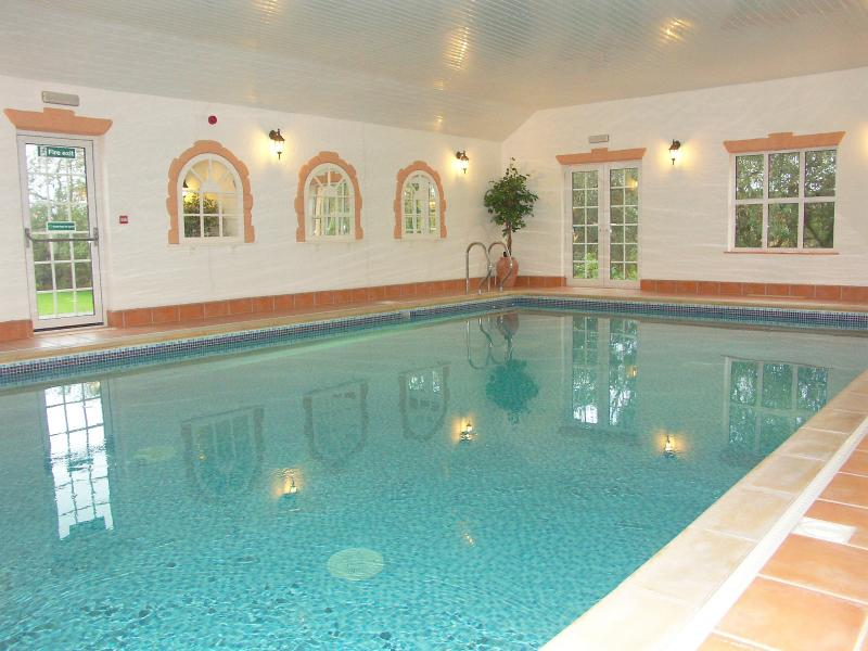Luxury indoor heated pool with sauna and steam room for all guests staying at Brongwyn Cottages