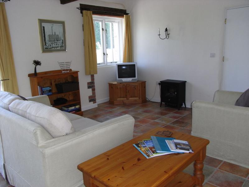 The lounge area, with a large sofa bed that sleeps 2.  TV, DVD player, books and games.