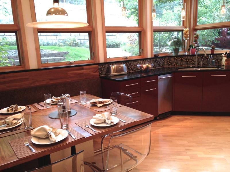 Kitchen table with hillside views