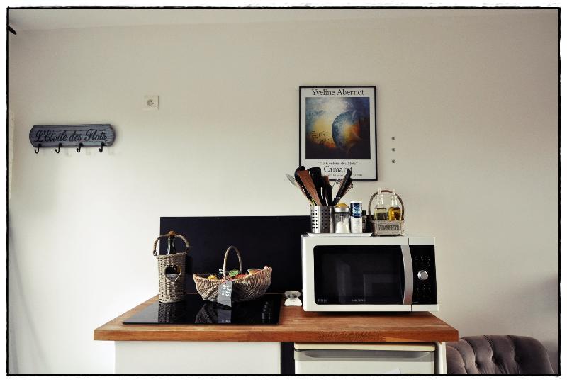 La cuisine est équipée d une plaque induction, d un four micro-onde, d un réfrigérateur...