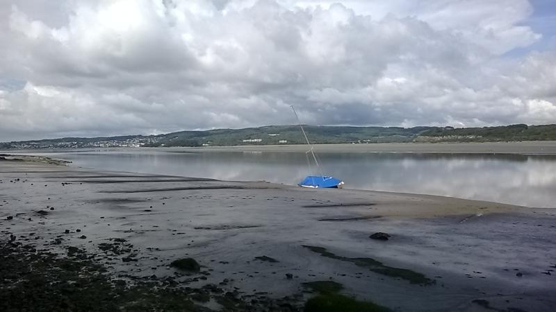 Blue boat in estuary