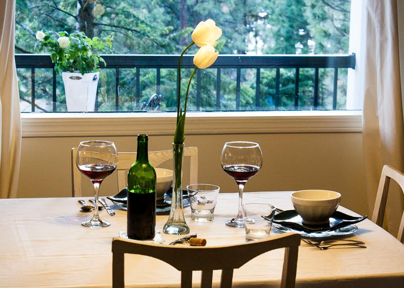 Enjoy a meal overlooking the mountains and lake...