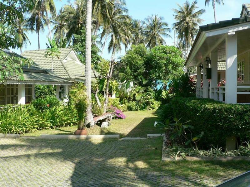 View of beautiful mature tropical gardens.