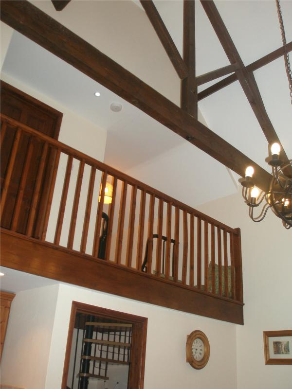 First floor gallery viewed from living area - exposed beams