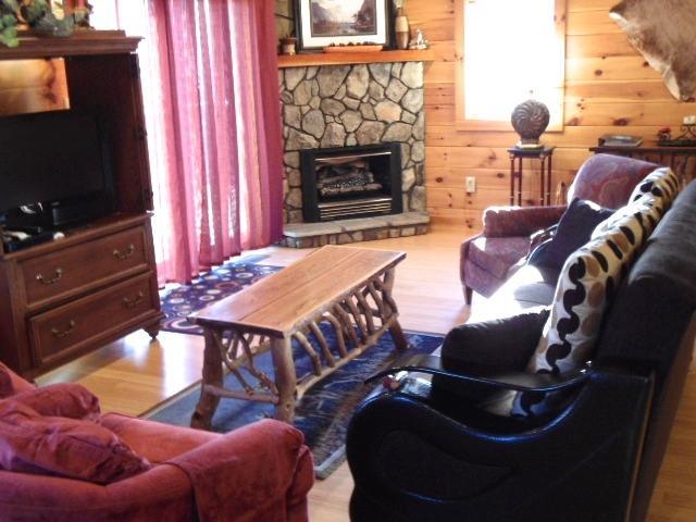 Geniet van gas logs, TV, DVD, WIFI, pluche comfortabele meubels en glas opruimen deuren naar dek.