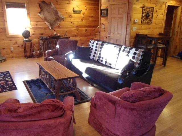Verzamelen zich rond in de studeerkamer met open haard en gas logs. Slaapbank, pluchen stoelen, comfortabele cabine leven.