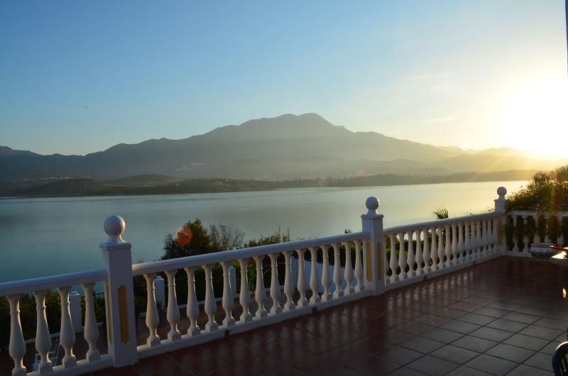 View across Lake Vinuela from the terrace of Casa Pantano