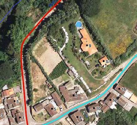 Aerial view of Vivenda. Below Center is the azorianischen House master.
