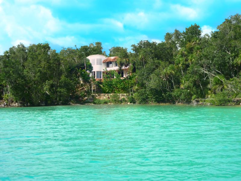 View of Maya cala from out on the lake of seven colors -Laguna Bacalar