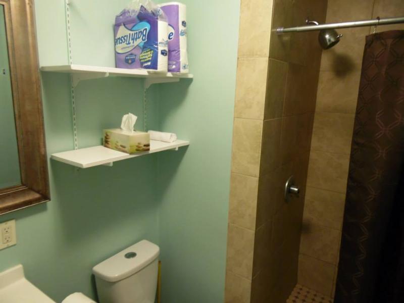 Master bathroom w/ shower.
