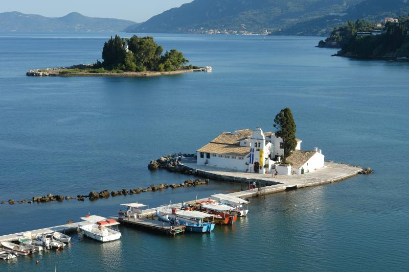 Vergin Maria Vlacherena`s monastery and mouse island about 24 km away, near Corfu Town