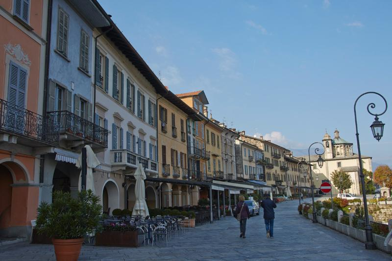 The promenade/piazza in front of the apartment (white building w/ blue shutters).