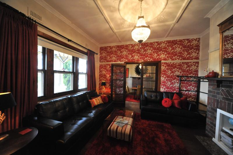 Lounge room at Pengallie decorated with Laura Ashley, free FOXTEL