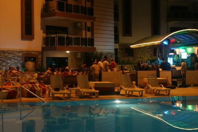 Dining by the pool in the evenings