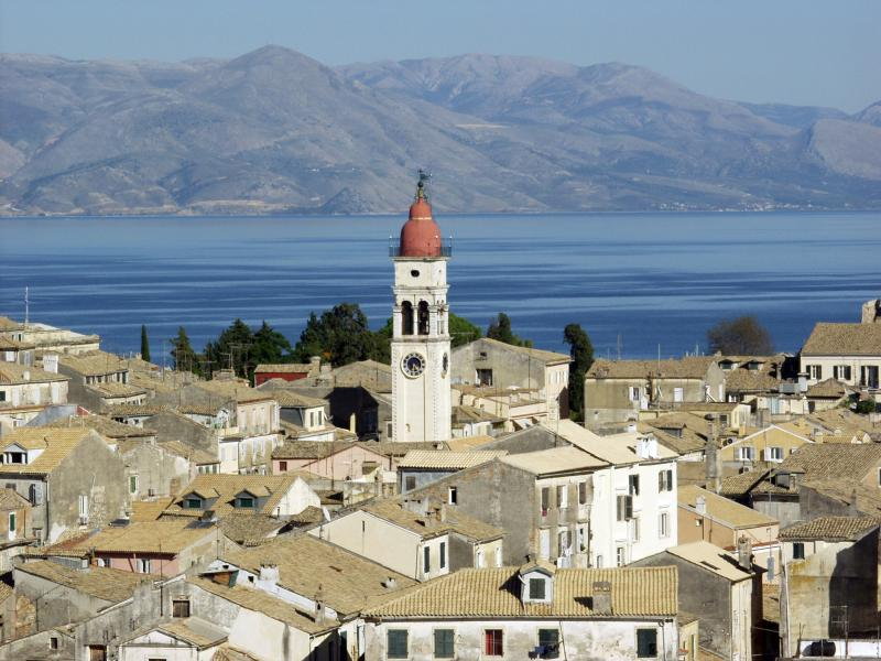 Corfu Town with the Saint Spyridon`s belfry