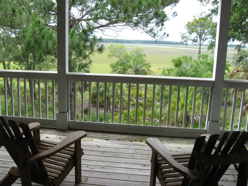 View of acres of protected marshland from master bedroom deck