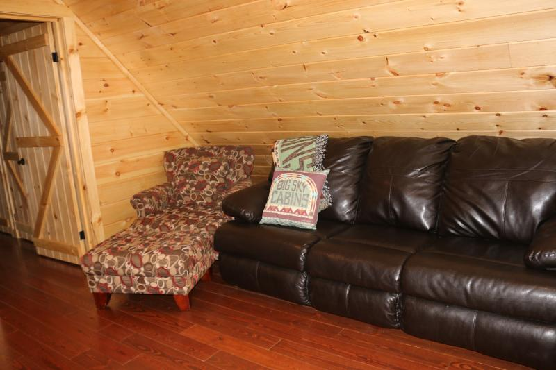 Loft area with queen size sleeper sofa with added mattress pad for comfort