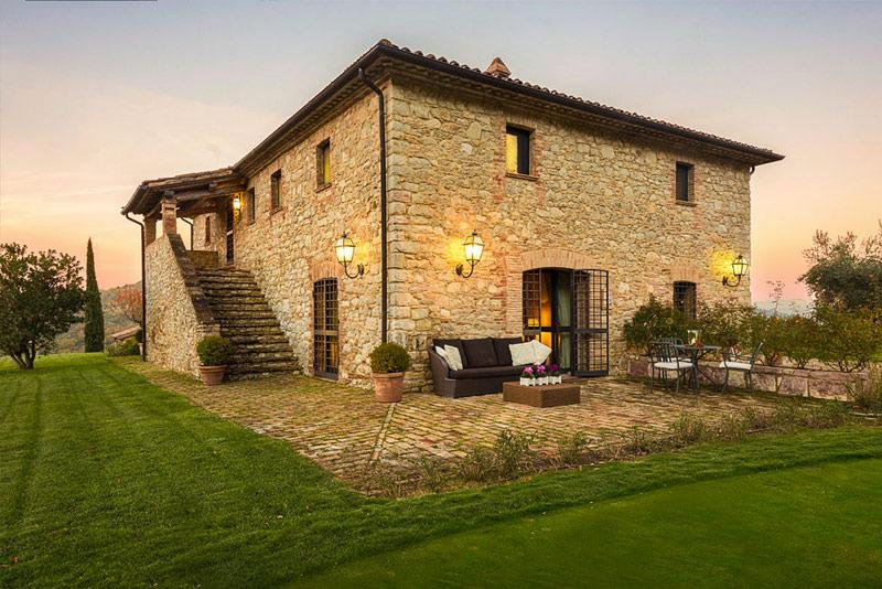 Beautiful stone-clad exterior of the villa