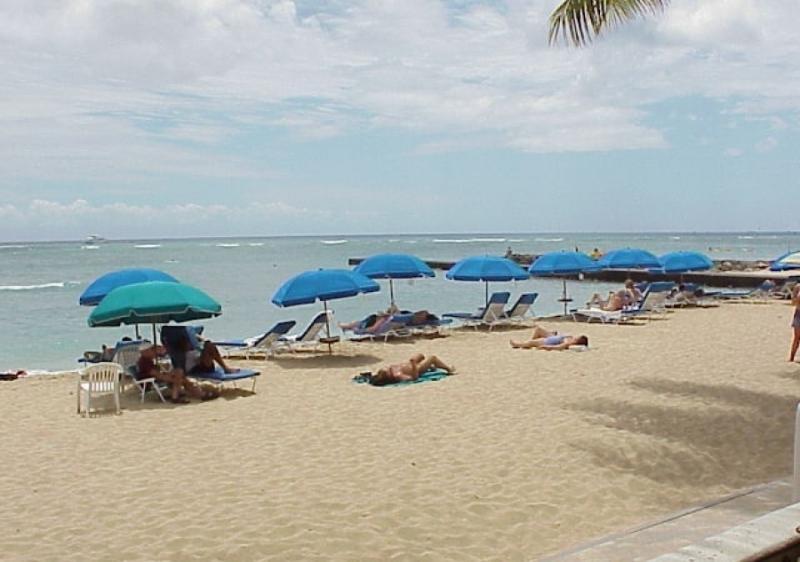 large sandy beachfront, warm swimming waters