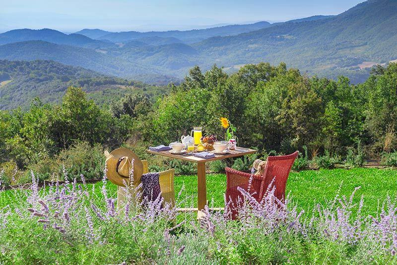 Beautiful outdoor seating area with mountain view