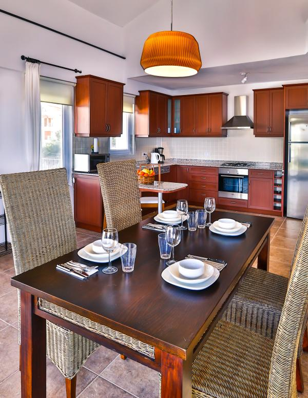 Open plan dining and kitchen area.